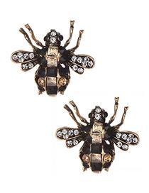Fashion Black Full Diamond Design Insect Shape Earrings