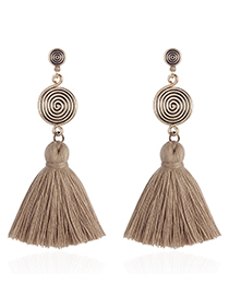 Fashion Khaki Round Shape Design Tassel Earrings