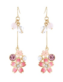 Fashion Multi-color Flowers&pearls Decorated Earrings