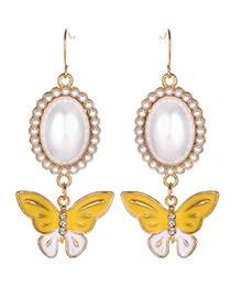 Fashion Yellow Butterfly Decorated Long Earrings