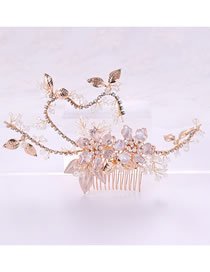 Fashion Gold Color Leaf&flowers Decorated Hair Accessories