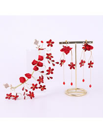 Fashion Red Flowers Decorated Bridal Hair Accessories