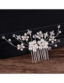 Fashion White Full Pearls Decorated Bridal Hair Accessories