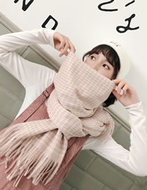 Fashion Light Pink Grids Pattern Decorated Tassel Scarf