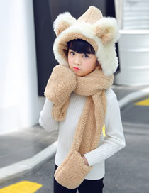 Lovely Khaki Pure Color Decorated Scarf&hat