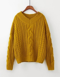 Elegant Yellow Pure Color Design V Neckline Sweater
