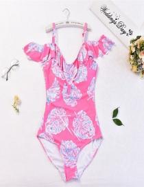Sexy Pink Leaf Pattern Design One-piece Swimwear