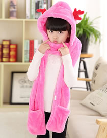 Fashion Plum Red Deer Shape Design Pure Color Scarf&hat