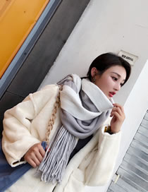Fashion Gray Tassel Decorated Thick Scarf