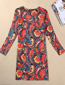 Fashion Orange Flower Pattern Decorated Long Sleeves Dress