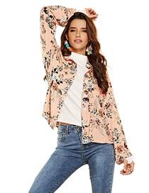 Fashion Light Pink Flower Pattern Decorated Shirt