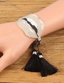 Fashion Beige Lip Shape Decorated Tassel Bracelet