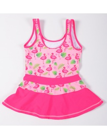 Sexy Pink Famingo Pattern Decorated Swimwear For Child