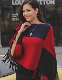 Fashion Red+navy Tassel Decorated Shawl
