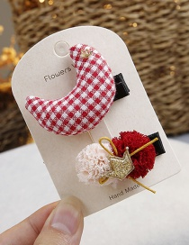 Fashion Red Moon Shape Decorated Hair Clip(2pcs)