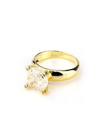 Fashion Gold Color+white Diamond Decorated Ring