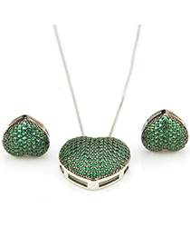 Fashion Green Heart Shape Decorated Jewelry Set