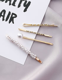 Fashion Gold Color Full Pearl Decorated Hair Clip