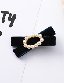 Fashion Navy Bowknot Shape Decorated Hair Clip