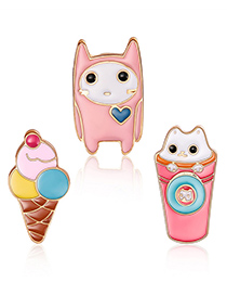 Fashion Pink Ice-cream Shape Decorated Clothing&bag Buckle(3pcs)