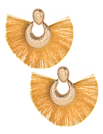 Fashion Dark Yellow Tassel Decorated Pure Color Earrings