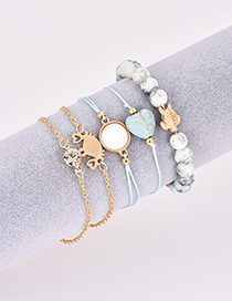 Fashion Gold Color+blue Multi-layer Design Bracelet(5pcs)