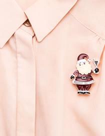 Fashion Brown Santa Claus Shape Decorated Brooch