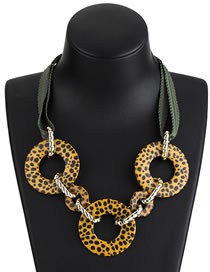 Fashion Yellow Round Shape Decorated Necklace