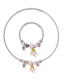Fashion Pink Heart Shape Decorated Jewelry Set