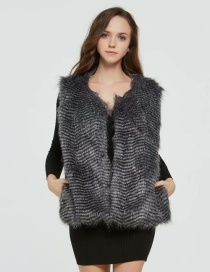 Fashion Dark Gray Stripe Pattern Decorated Vest