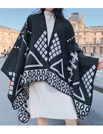 Fashion Black Geometry Pattern Decorated Scarf