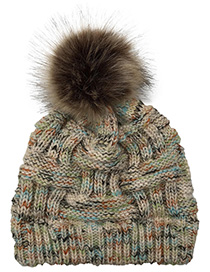 Fashion Beige Pom Ball Decorated Hat