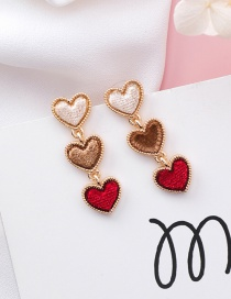 Fashion Red+khaki Heart Shape Decorated Earrings