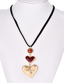 Fashion Claret Red Heart Shape Decorated Necklace