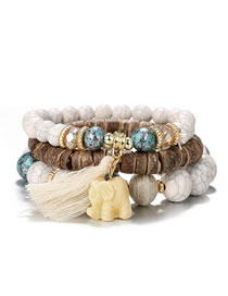 Fashion White Elephant Shape Decorated Tassel Bracelet (3 Pcs )