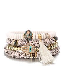 Fashion White Hand Shape Decorated Tassel Bracelet (4 Pcs )