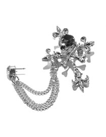 Fashion Silver Color Cross Shape Decorated Brooch