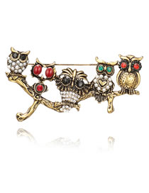 Fashion Gold Color Owl Shape Decorated Brooch