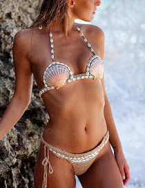 Fashion Khaki Shell Shape Decorated Bikini
