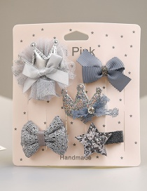 Fashion Gray Crown&bowknot Shape Decorated Hair Clip (5 Pcs )