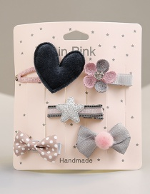 Fashion Pink+gray Flower Shape Decorated Hair Clip (5 Pcs )