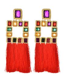 Fashion Red Diamond Decorated Tassel Earrings