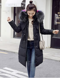 Fashion Black Fur Collar Decorated Pur Color Down Jacket