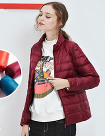 Fashion Claret Red Pure Color Decorated Down Jacket