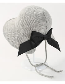 Sweet Light Gray Bowknot Decorated Bandage Knitted Cap