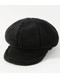 Fashion Black Pure Color Decorated Thickened Octagonal Cap