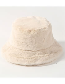 Fashion Milky White Pure Color Decorated Thickened Hat