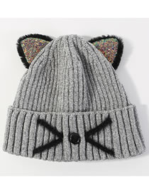 Lovely Gray Cat Shape Design Thicken Knitted Hat