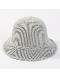 Fashion Light Gray Pure Color Decorated Knitted Hat