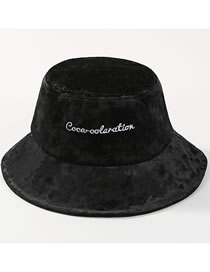 Fashion Black Embroidered Letters Design Fisherman Hat